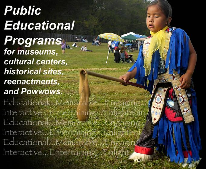 Powwow dancer plays doubleball.
